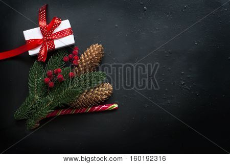 Christmasgift Box,  Branches,candy, Cones,  Christmas Background.