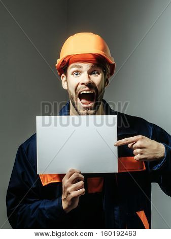 Excited Man Keeps Blank Paper