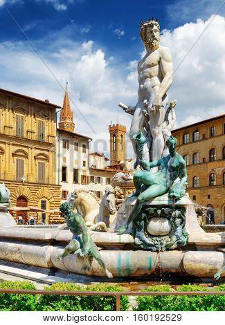 The Fountain Of Neptune On The Piazza Della Signoria. Florence