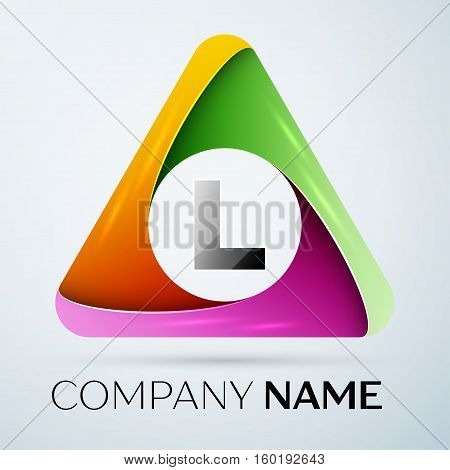 Letter L vector logo symbol in the colorful triangle. Vector template for your design