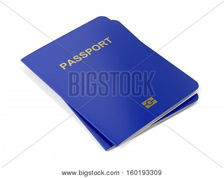 Two biometric passports on white background, 3D illustration