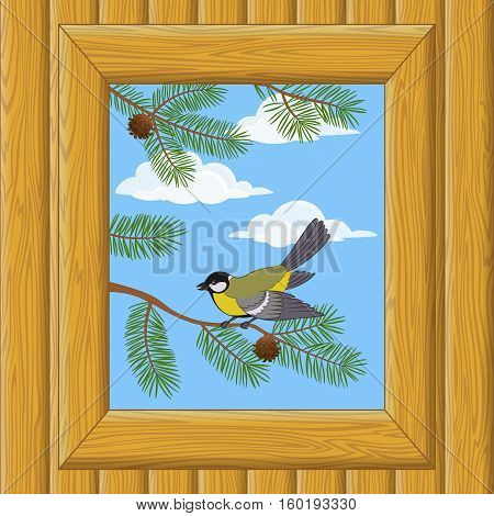 Background with Wooden Wall and Window with View of Blue Sky, Clouds, Pine Branches and Bird Titmouse. Vector