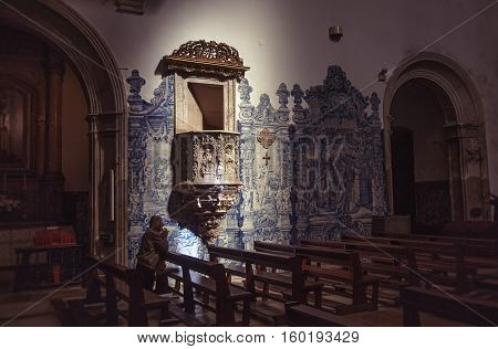 COIMBRA PORTUGAL - September 26 2013: Interior of the Santa Cruz Monastery Monastery of the Holy Cross is a National Monument in Coimbra Portugal