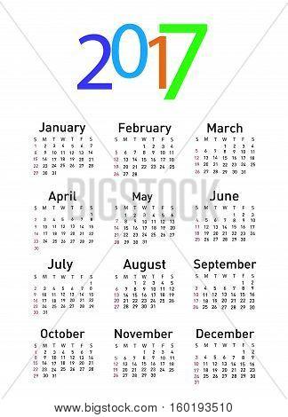 Calendar for 2017 vector illustration art on white