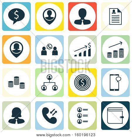 Set Of 16 Human Resources Icons. Can Be Used For Web, Mobile, UI And Infographic Design. Includes Elements Such As Money, Organisation, Stacked And More.