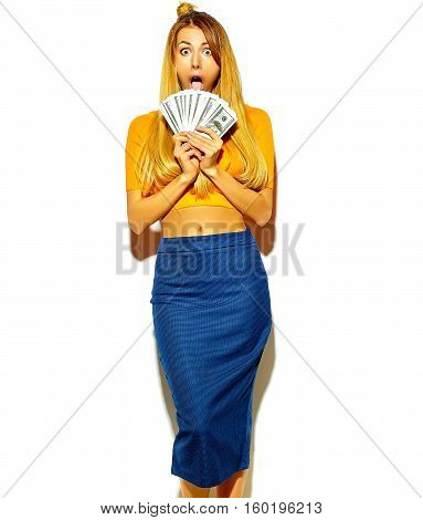 beautiful happy cute smiling blonde woman model in casual colorful hipster summer clothes with no makeup holding dollar banknotes