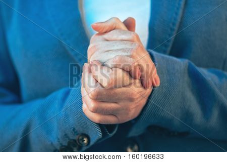 Nervous businesswoman hands close up female entrepreneur before important business meeting