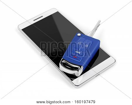 Smartphone and car key on white background, 3D illustration