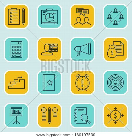 Set Of 16 Project Management Icons. Can Be Used For Web, Mobile, UI And Infographic Design. Includes Elements Such As Statistics, Personality, Task And More.