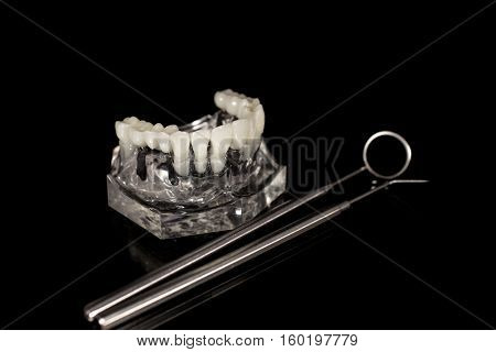 Glass jaw model with implanted dentures, dental mirror and probe on black background.
