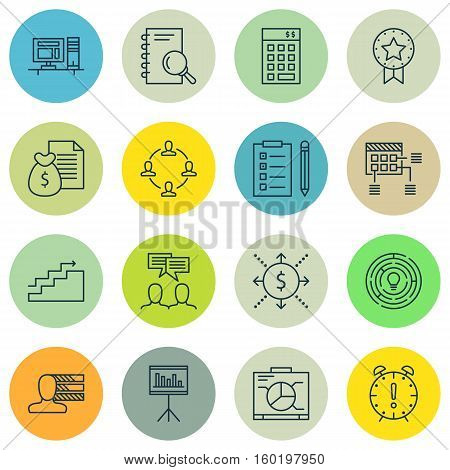 Set Of 16 Project Management Icons. Can Be Used For Web, Mobile, UI And Infographic Design. Includes Elements Such As Finance, Collaboration, Presentation And More.