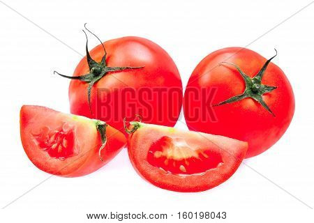 fresh tomato isolated on the white bakground