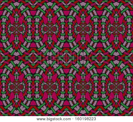Abstract geometric seamless background. Regular ellipses ornaments in red, violet, lilac and green, netting.