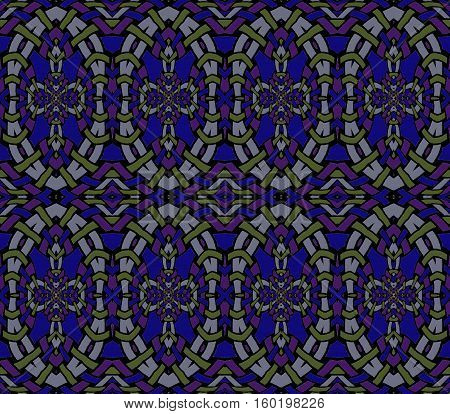 Abstract geometric seamless background. Regular ellipses pattern in purple, dark blue, green and gray, netting.