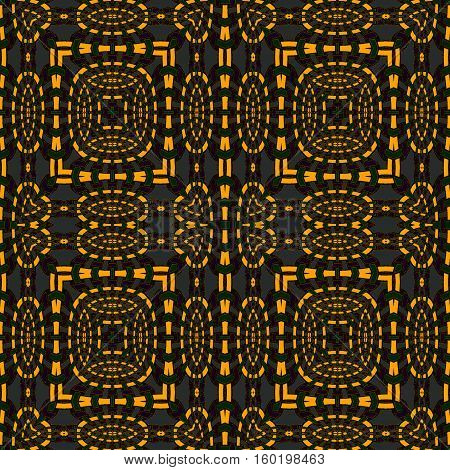 Abstract geometric seamless background. Regular squares and ellipses pattern orange with dark green and purple elements on dark gray.