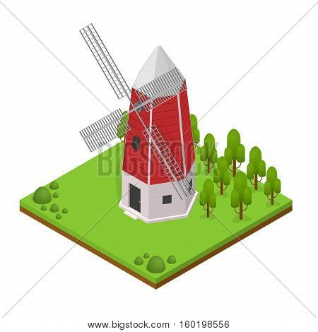 Traditional Old Windmill Building with Landscape and Plant Isometric View Vector illustration