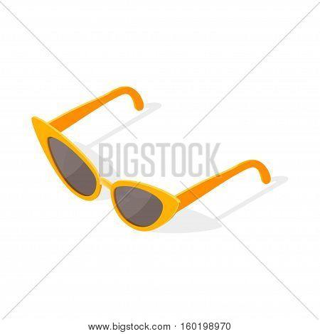 Isometric 3d vector illustration of cat eye glasses. Isolated on white background.