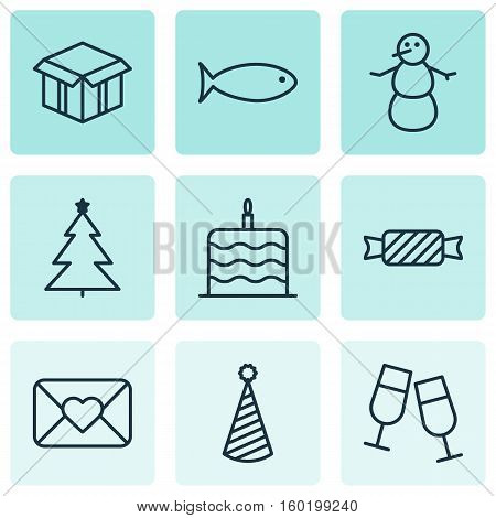 Set Of 9 Celebration Icons. Can Be Used For Web, Mobile, UI And Infographic Design. Includes Elements Such As Aquatic, Clink, Food And More.