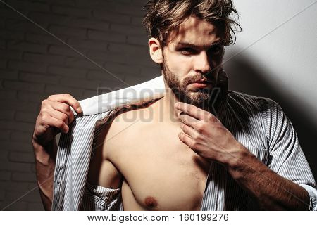 Handsome Man Touches Beard