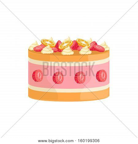Jelly Cake With Strawberries And Orange Decorated Big Special Occasion Party Dessert For Wedding Or Birthday Celebration. Festive Sweet Pastry Centerpiece Element Design Flat Vector Illustration.
