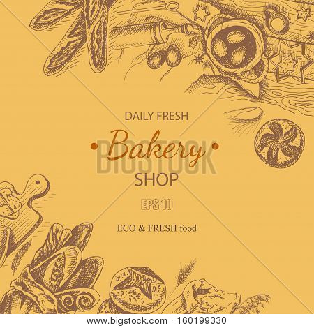 Vector illustration sketch - bakery. bread, loaf, baguette. Card bakery house with fresh pastry