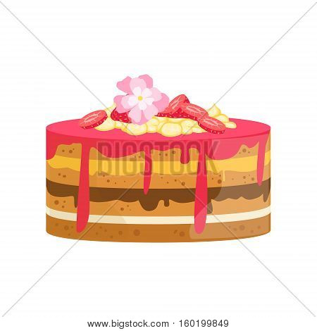 Layered Cake With Flowers And Different Creams Decorated Big Special Occasion Party Dessert For Wedding Or Birthday Celebration. Festive Sweet Pastry Centerpiece Element Design Flat Vector Illustration.