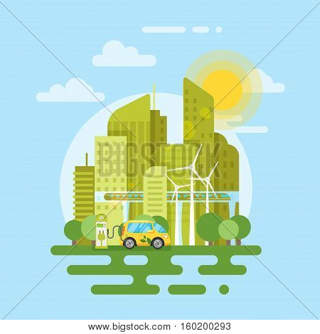 Vector flat style illustration of electric car in the city. Eco-friendly transport. Icon for web.