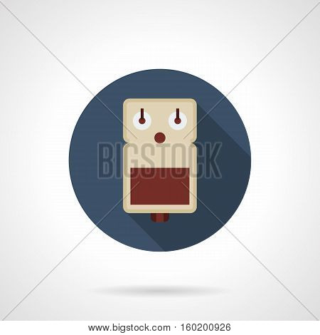 Symbol of guitar effect pedal. Pictogram for musical store. Site of professional music equipment and devices. Round flat color design vector icon.