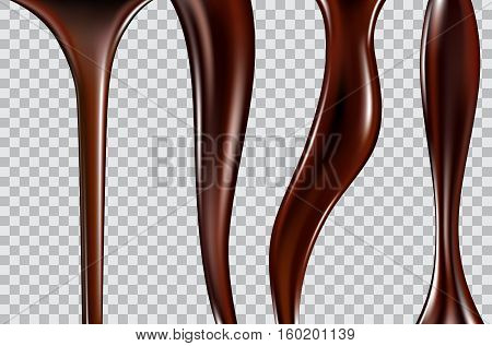 chocolate streams isolated on a transparent background