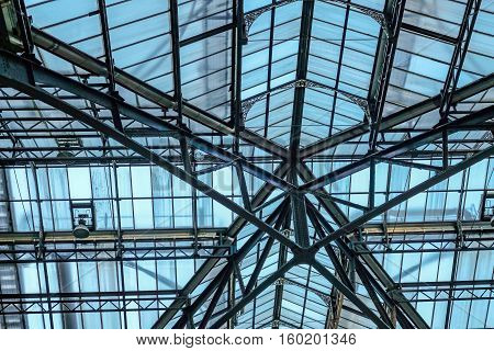 Shot of the roof at Liverpool Street Station a mainline station in central London.