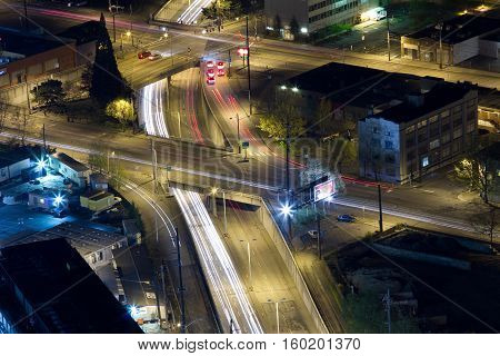 Light trails on freeways in Seattle, Washington (US)