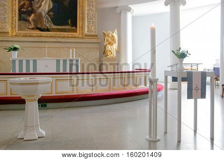 Helsinki, Finland - April 10, 2010: Altar of The City Cathedral with fragment of The