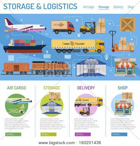 Storage and delivery Concept infographics with flat Icons air cargo, shop. vector illustration