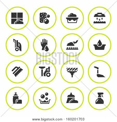 Set round icons of cleaning isolated on white. Vector illustration