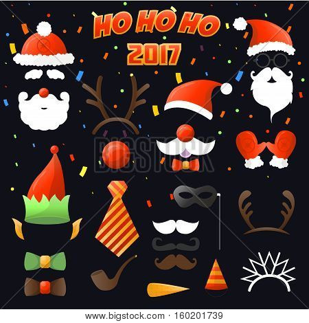 Christmas Party set Glasses, hats, mustaches, masks - for holiday design, photo booth. Vector Illustration