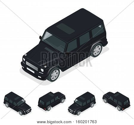 Isometric Black VIP Car. Cross country vehicle. Mid-size four-wheel drive luxury SUV. Flat 3d high quality city transport icon set
