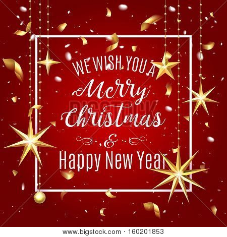 Premium Luxury Merry Christmas Holiday Greeting Card. Golden Decoration Ornament With Christmas Star
