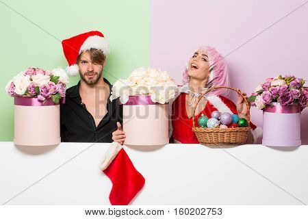 Christmas Couple With Flowers