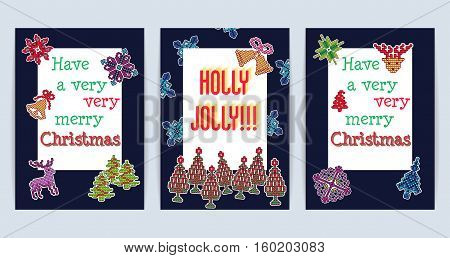 Vector Illustration of Ugly sweater Xmas Patches Greeting card for Design, Website, background, Banner. Merry Christmas Knitted Retro Stickers with Deer, snowflake bell, Christmas Tree Template