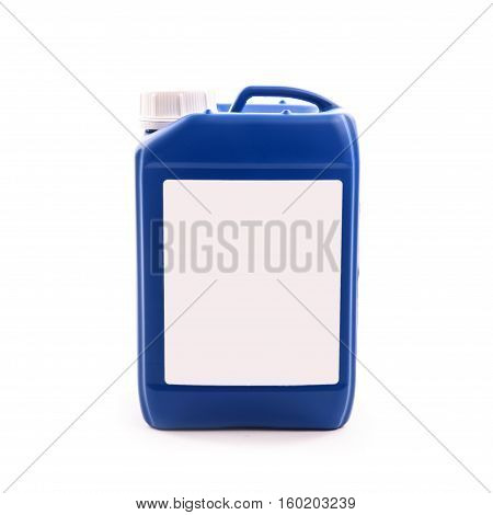 blue plastic jerry can isolated on a white background.