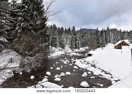 Winter Landscape Of A Small Snowy River