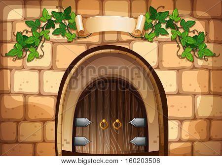 Castel door with vine over it illustration