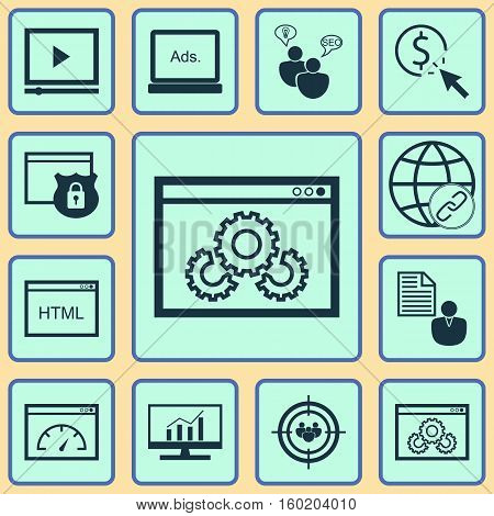 Set Of 12 SEO Icons. Can Be Used For Web, Mobile, UI And Infographic Design. Includes Elements Such As Target, Analytics, Display And More.