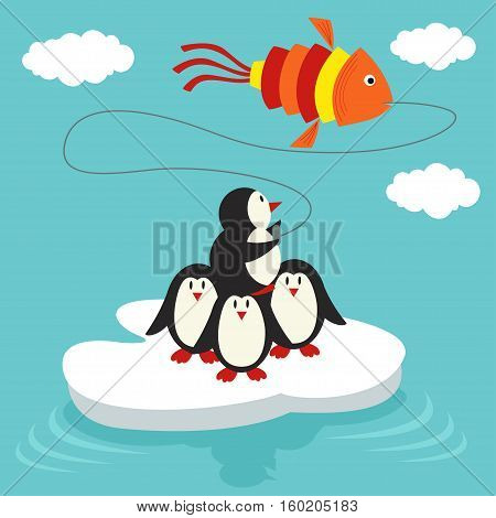 penguins on ice floe launch a kite in form of fish - vector illustration, eps
