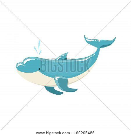 Blue Bottlenose Dolphin Jumping For Entertainment Show, Realistic Aquatic Mammal Vector Drawing. Friendly Cute Marine Animal In Aquarium Zoo Cartoon Illustration.