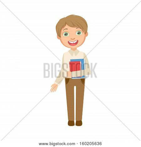 Boy In Brown Trousers And White Vest Holding Books Happy Schoolkid In School Uniform Standing And Smiling Cartoon Character. Part Of Primary School Students In Dress Code Clothing Set Of Vector Illustrations.