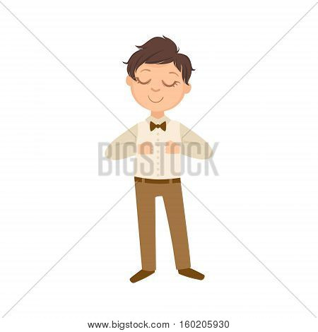 Boy In Brown Trousers And Bow Tie Happy Schoolkid In School Uniform Standing And Smiling Cartoon Character. Part Of Primary School Students In Dress Code Clothing Set Of Vector Illustrations.
