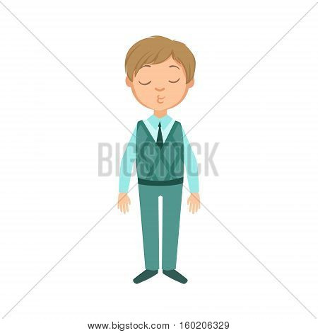 Boy In Blue Pants And Vest Happy Schoolkid In School Uniform Standing And Smiling Cartoon Character. Part Of Primary School Students In Dress Code Clothing Set Of Vector Illustrations.