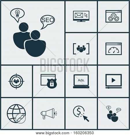 Set Of 12 SEO Icons. Can Be Used For Web, Mobile, UI And Infographic Design. Includes Elements Such As Protected, Pay, Matching And More.