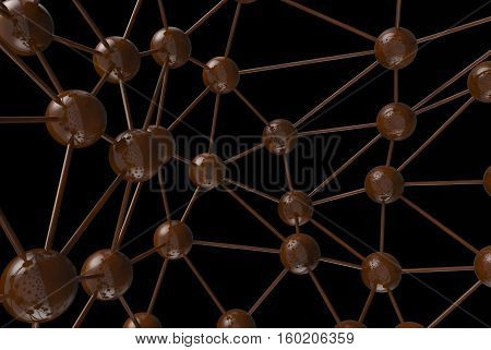 Brown Chocolate Molecular Geometric Chaos Abstract Structure. Science Technology Network Connection